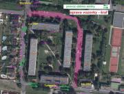 KM   zákres   vozovka Tomanova, Březinova